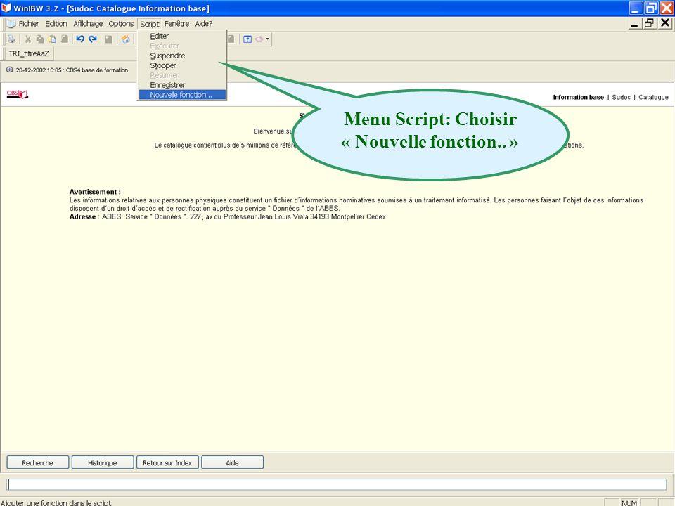 2011 abes agence bibliographique de lenseignement supérieur Menu Script: Choisir « Nouvelle fonction..