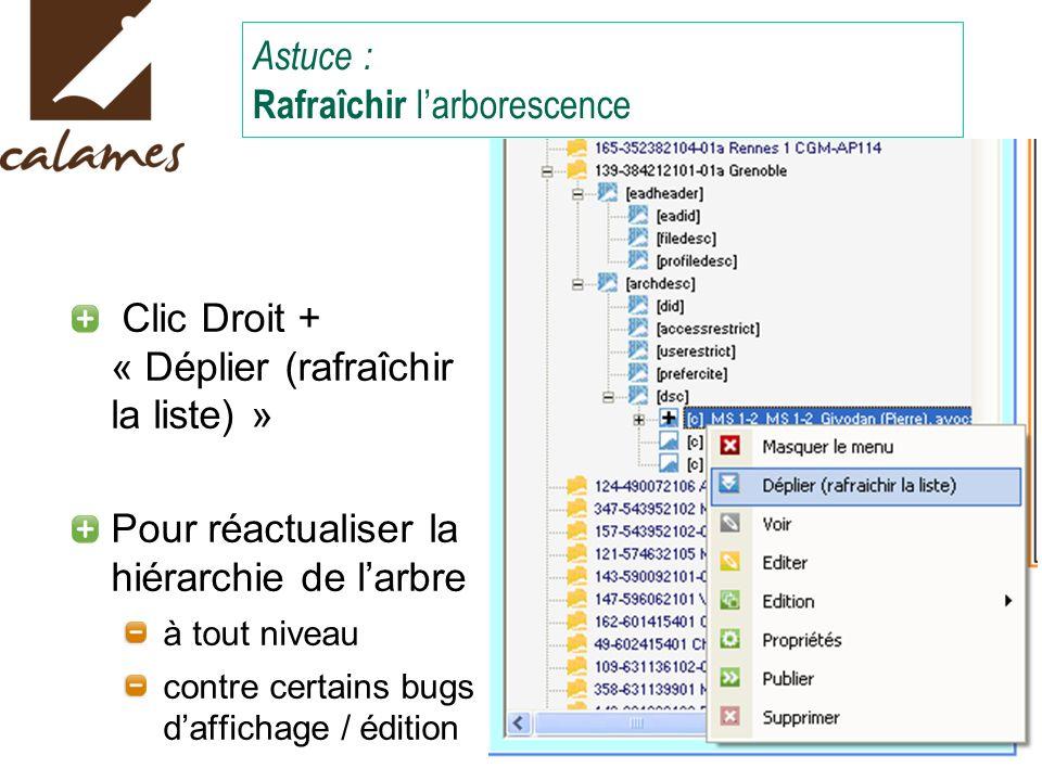 Astuce : Rafraîchir larborescence Clic Droit + « Déplier (rafraîchir la liste) » Pour réactualiser la hiérarchie de larbre à tout niveau contre certains bugs daffichage / édition
