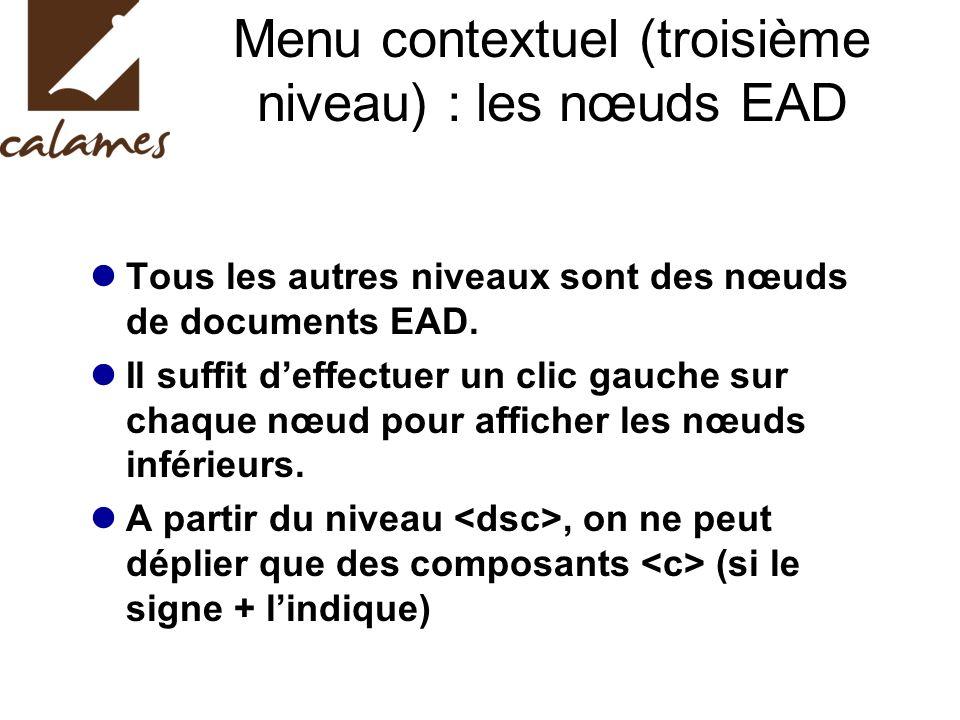 Menu contextuel (troisième niveau) : les nœuds EAD Tous les autres niveaux sont des nœuds de documents EAD.