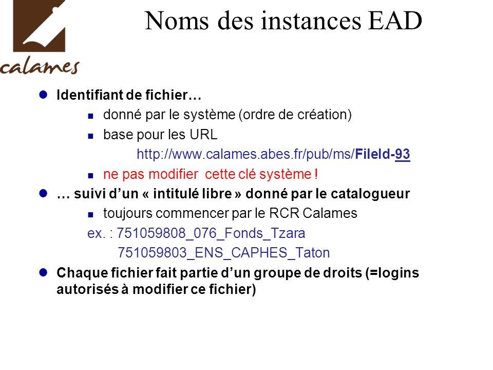Noms des instances EAD Identifiant de fichier… donné par le système (ordre de création) base pour les URL http://www.calames.abes.fr/pub/ms/FileId-93 ne pas modifier cette clé système .