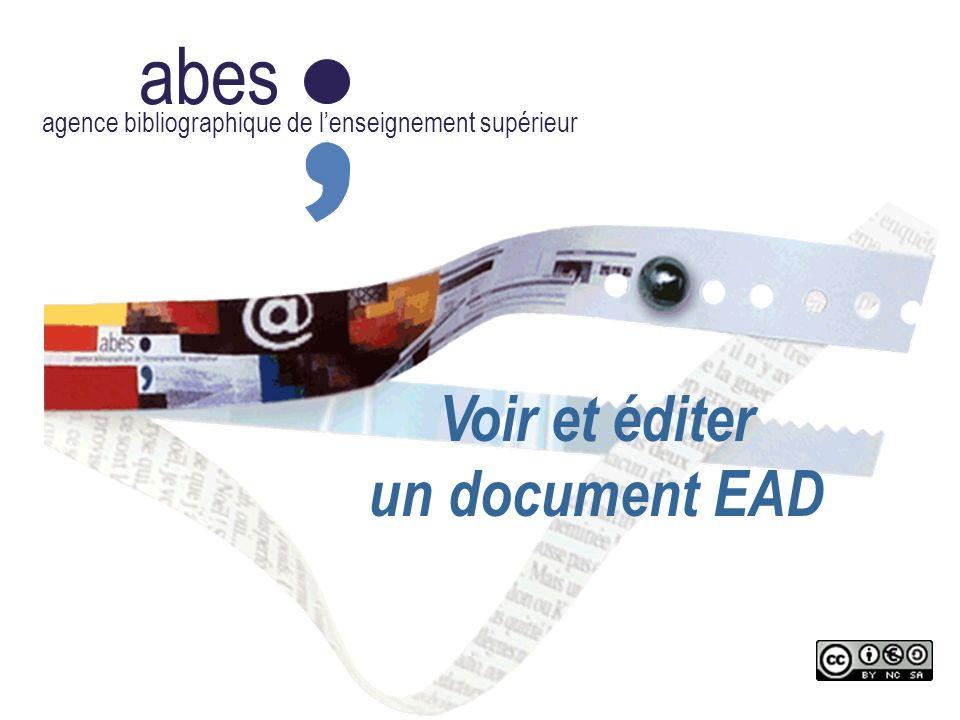 abes agence bibliographique de lenseignement supérieur Voir et éditer un document EAD