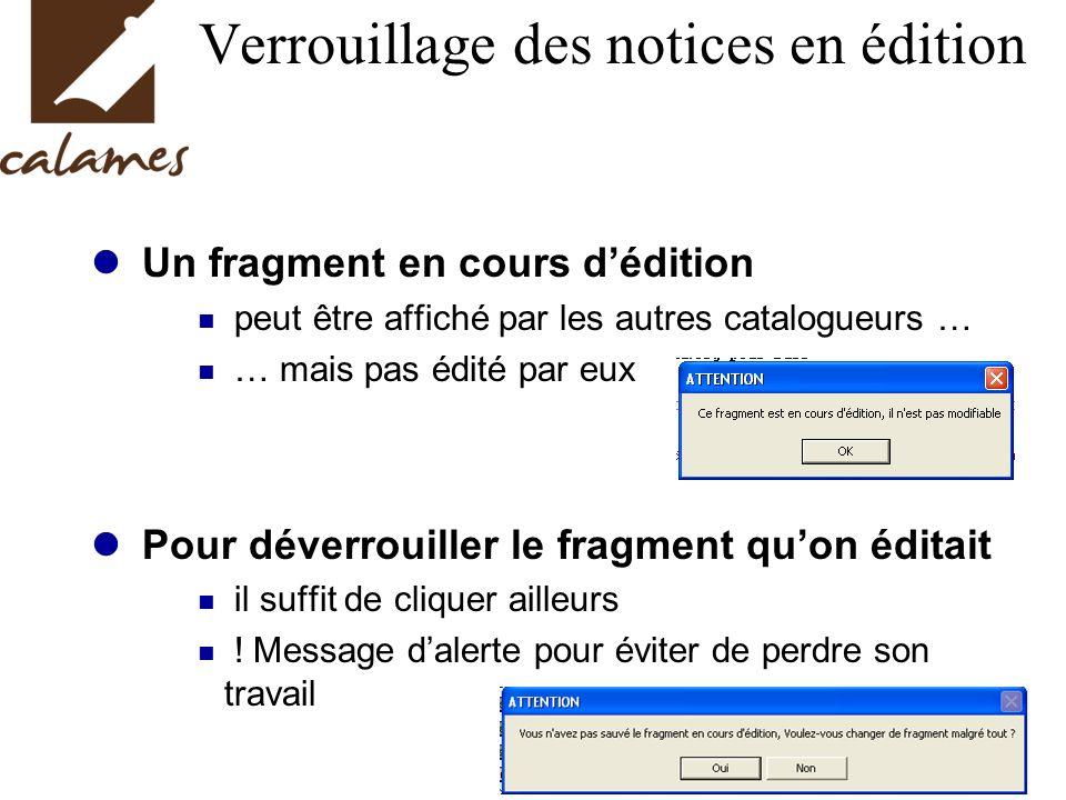 Verrouillage des notices en édition Un fragment en cours dédition peut être affiché par les autres catalogueurs … … mais pas édité par eux Pour déverrouiller le fragment quon éditait il suffit de cliquer ailleurs .