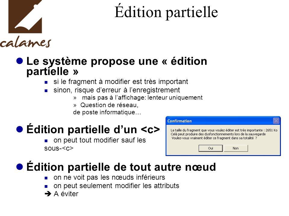 Édition partielle Le système propose une « édition partielle » si le fragment à modifier est très important sinon, risque derreur à lenregistrement »