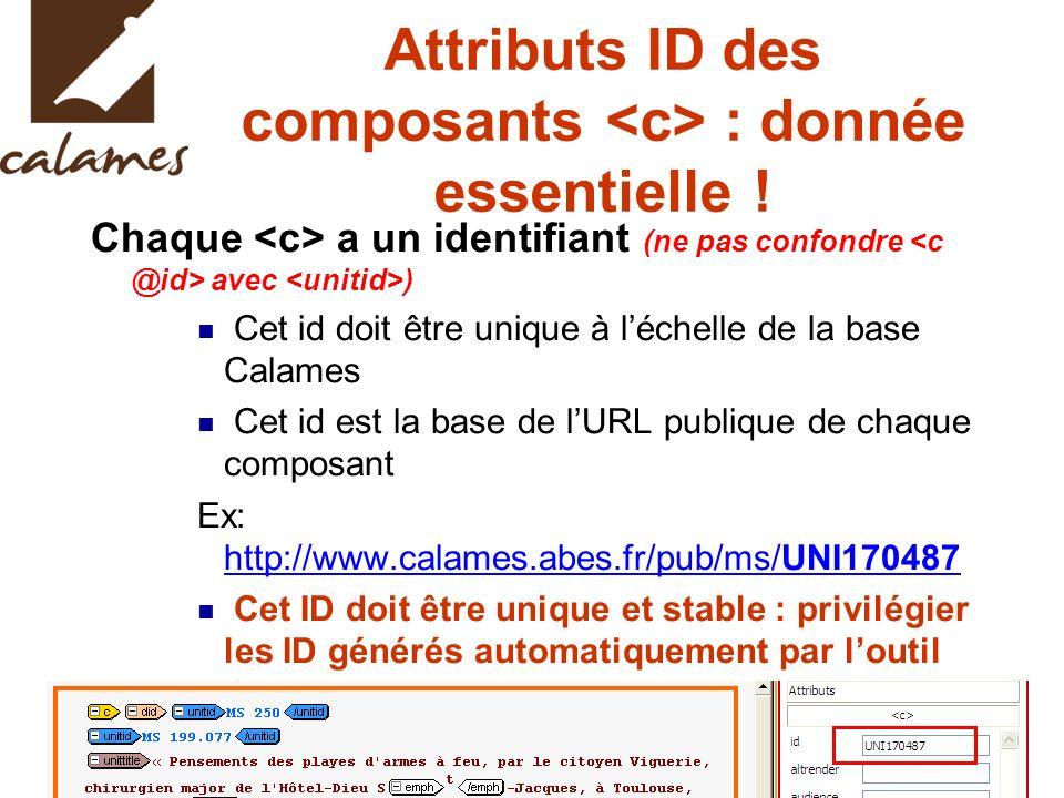 Chaque a un identifiant (ne pas confondre avec ) Cet id doit être unique à léchelle de la base Calames Cet id est la base de lURL publique de chaque composant Ex: http://www.calames.abes.fr/pub/ms/UNI170487 http://www.calames.abes.fr/pub/ms/UNI170487 Cet ID doit être unique et stable : privilégier les ID générés automatiquement par loutil Calames Attention aux copier/coller effectués dans la fenêtre dédition XMetal .