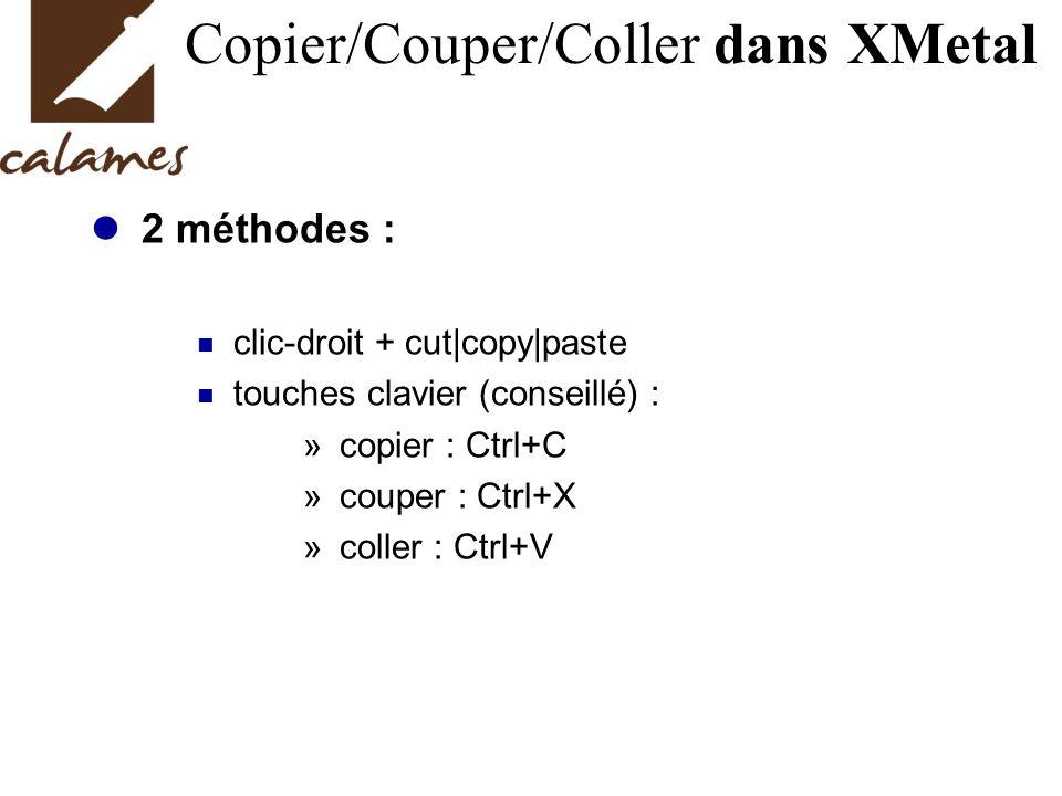 Copier/Couper/Coller dans XMetal 2 méthodes : clic-droit + cut|copy|paste touches clavier (conseillé) : » copier : Ctrl+C » couper : Ctrl+X » coller : Ctrl+V