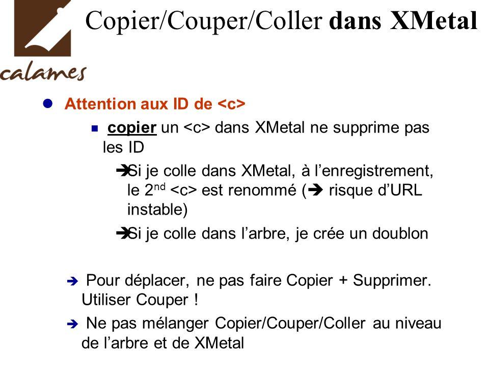 Copier/Couper/Coller dans XMetal Attention aux ID de copier un dans XMetal ne supprime pas les ID Si je colle dans XMetal, à lenregistrement, le 2 nd est renommé ( risque dURL instable) Si je colle dans larbre, je crée un doublon Pour déplacer, ne pas faire Copier + Supprimer.