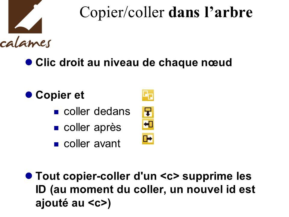 Copier/coller dans larbre Clic droit au niveau de chaque nœud Copier et coller dedans coller après coller avant Tout copier-coller d'un supprime les I