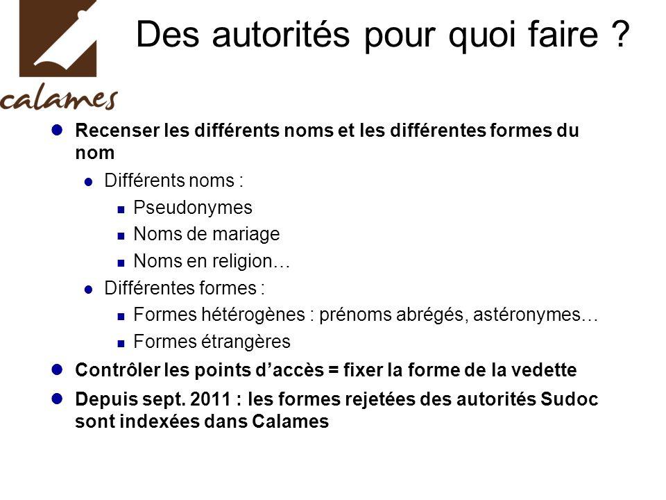Des autorités pour quoi faire ? Recenser les différents noms et les différentes formes du nom Différents noms : Pseudonymes Noms de mariage Noms en re