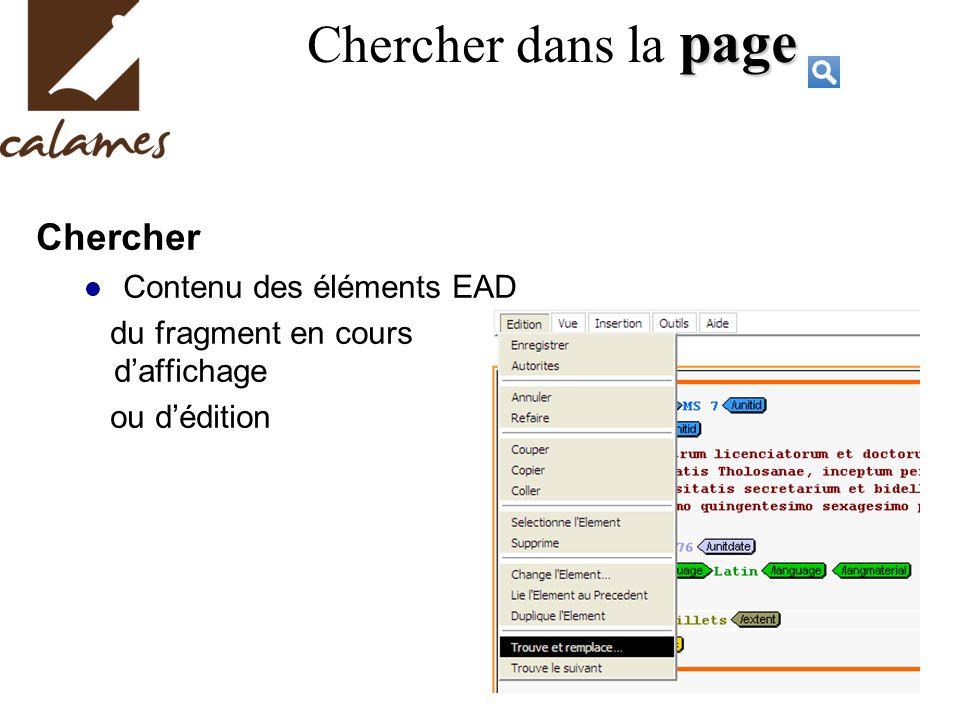 page Chercher dans la page Chercher Contenu des éléments EAD du fragment en cours daffichage ou dédition