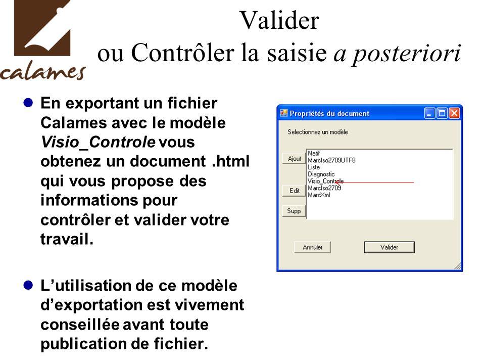 Valider ou Contrôler la saisie a posteriori En exportant un fichier Calames avec le modèle Visio_Controle vous obtenez un document.html qui vous propose des informations pour contrôler et valider votre travail.