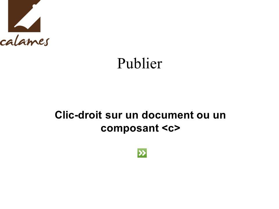 Publier Clic-droit sur un document ou un composant