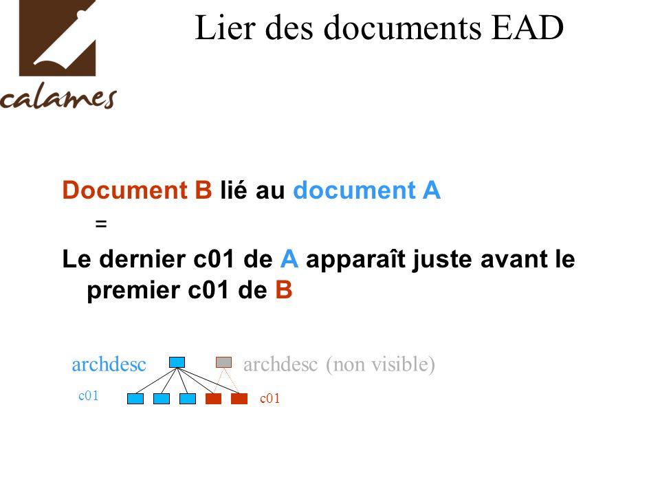Lier des documents EAD Document B lié au document A = Le dernier c01 de A apparaît juste avant le premier c01 de B archdesc c01 archdesc (non visible) c01