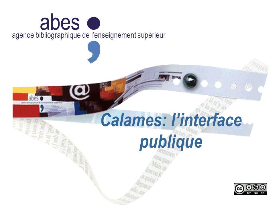 abes agence bibliographique de lenseignement supérieur Calames: linterface publique