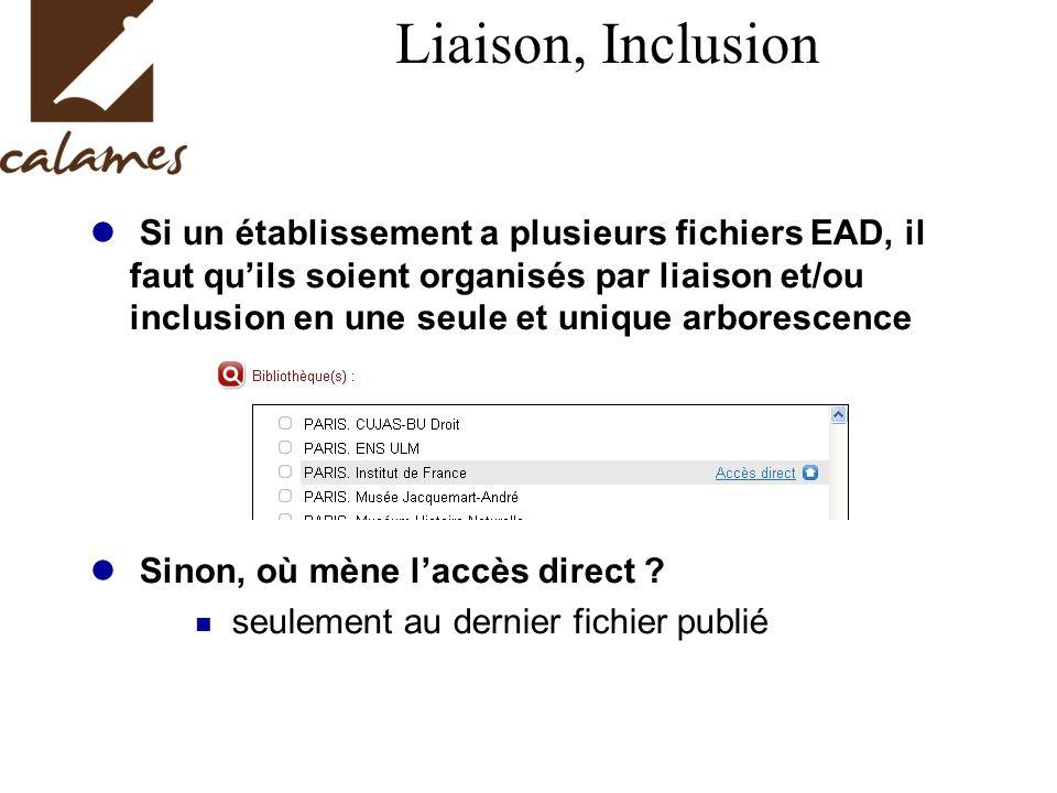 Liaison, Inclusion Si un établissement a plusieurs fichiers EAD, il faut quils soient organisés par liaison et/ou inclusion en une seule et unique arborescence Sinon, où mène laccès direct .