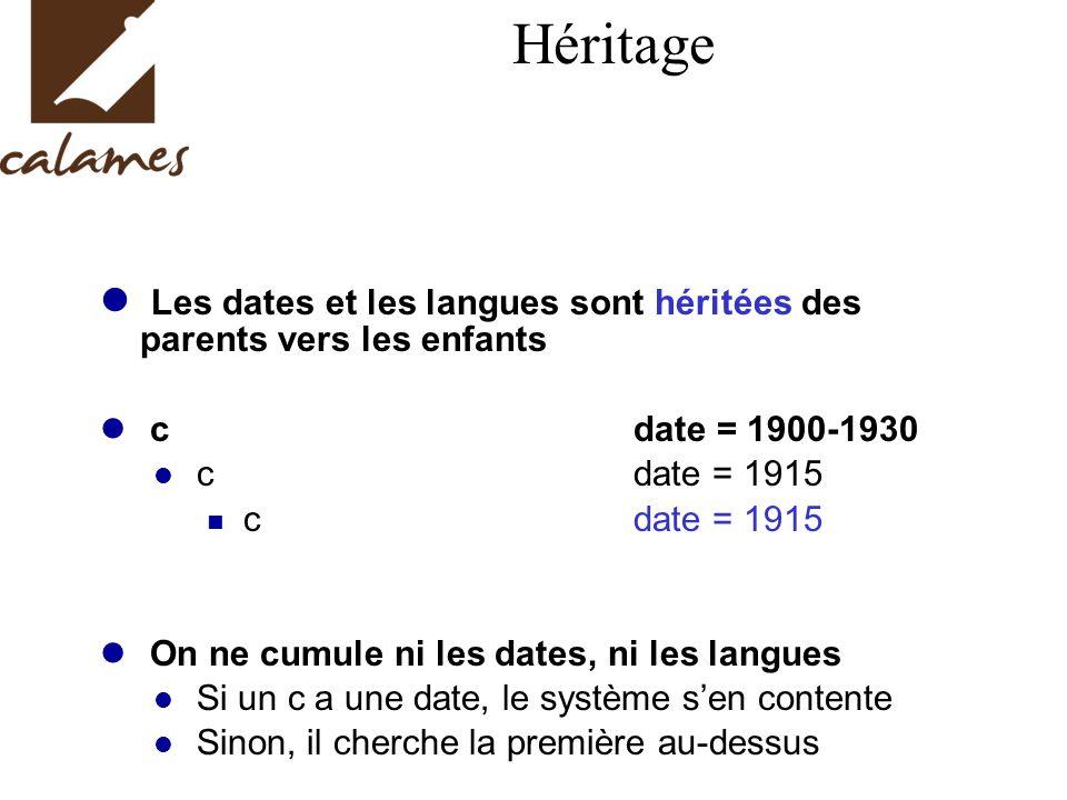 Héritage Les dates et les langues sont héritées des parents vers les enfants cdate = 1900-1930 cdate = 1915 On ne cumule ni les dates, ni les langues Si un c a une date, le système sen contente Sinon, il cherche la première au-dessus