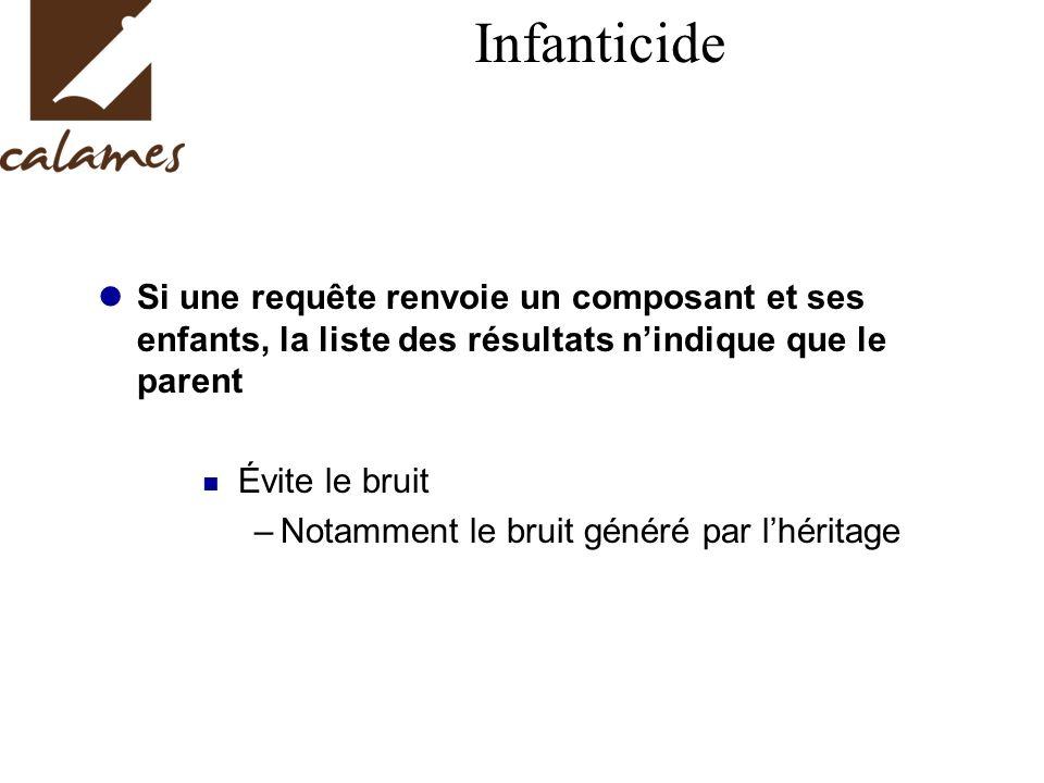 Infanticide Si une requête renvoie un composant et ses enfants, la liste des résultats nindique que le parent Évite le bruit –Notamment le bruit généré par lhéritage