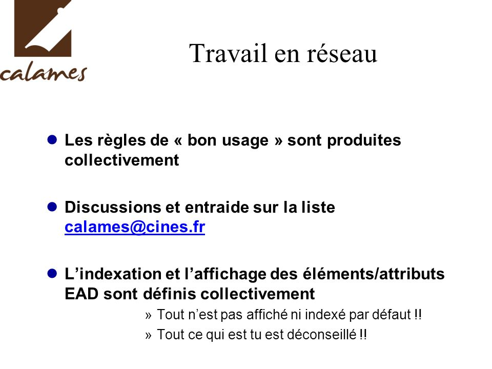 Travail en réseau Les règles de « bon usage » sont produites collectivement Discussions et entraide sur la liste calames@cines.fr calames@cines.fr Lin