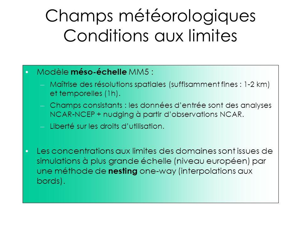 Champs météorologiques Conditions aux limites Modèle méso-échelle MM5 : – Maîtrise des résolutions spatiales (suffisamment fines : 1-2 km) et temporel