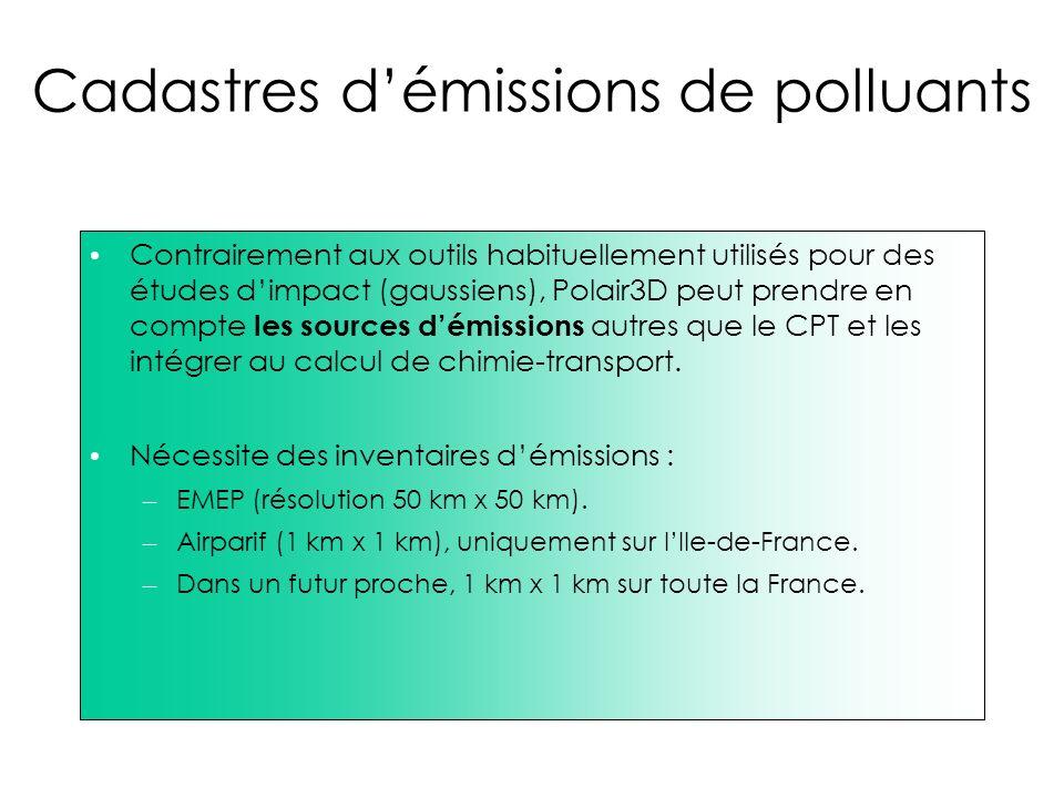 Cadastres démissions de polluants Contrairement aux outils habituellement utilisés pour des études dimpact (gaussiens), Polair3D peut prendre en compt