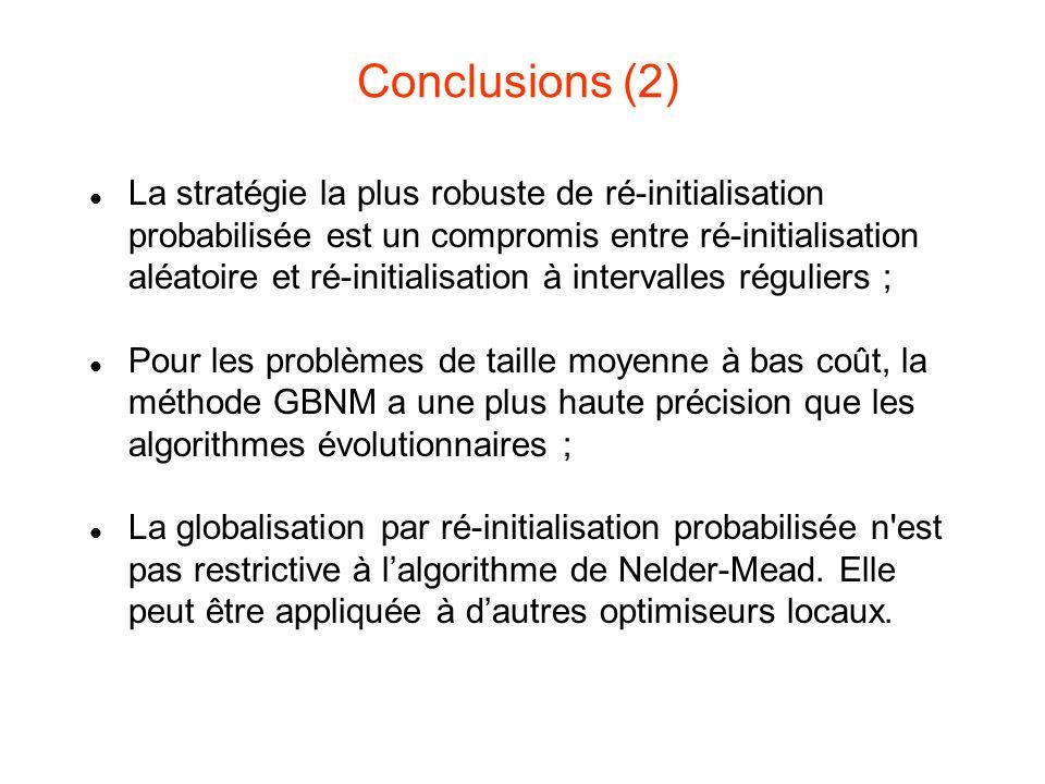 Conclusions (2) La stratégie la plus robuste de ré-initialisation probabilisée est un compromis entre ré-initialisation aléatoire et ré-initialisation