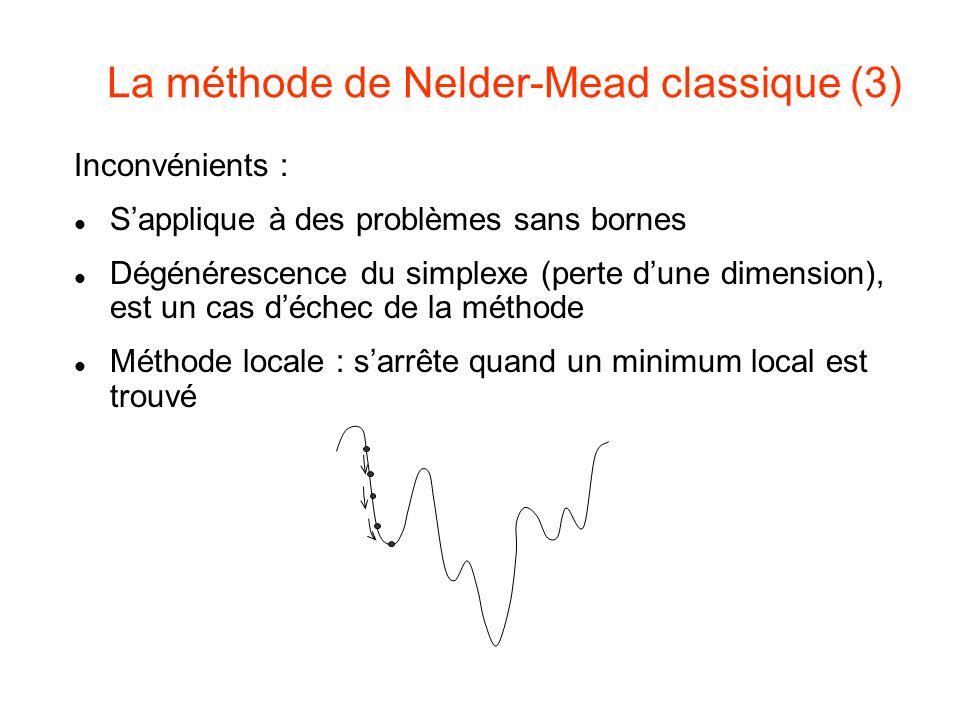 La méthode de Nelder-Mead classique (3) Inconvénients : Sapplique à des problèmes sans bornes Dégénérescence du simplexe (perte dune dimension), est u