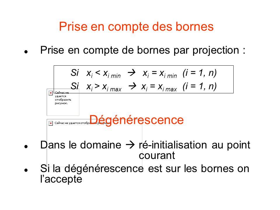 Prise en compte des bornes Prise en compte de bornes par projection : Dégénérescence Dans le domaine ré-initialisation au point courant Si la dégénére