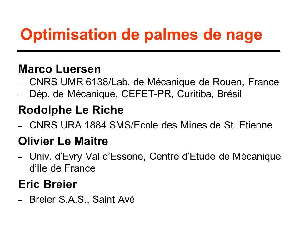 Optimisation de palmes de nage Marco Luersen – CNRS UMR 6138/Lab. de Mécanique de Rouen, France – Dép. de Mécanique, CEFET-PR, Curitiba, Brésil Rodolp