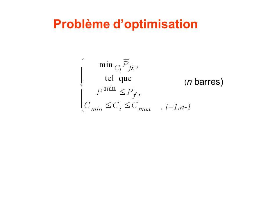 Problème doptimisation ( n barres), i=1,n-1