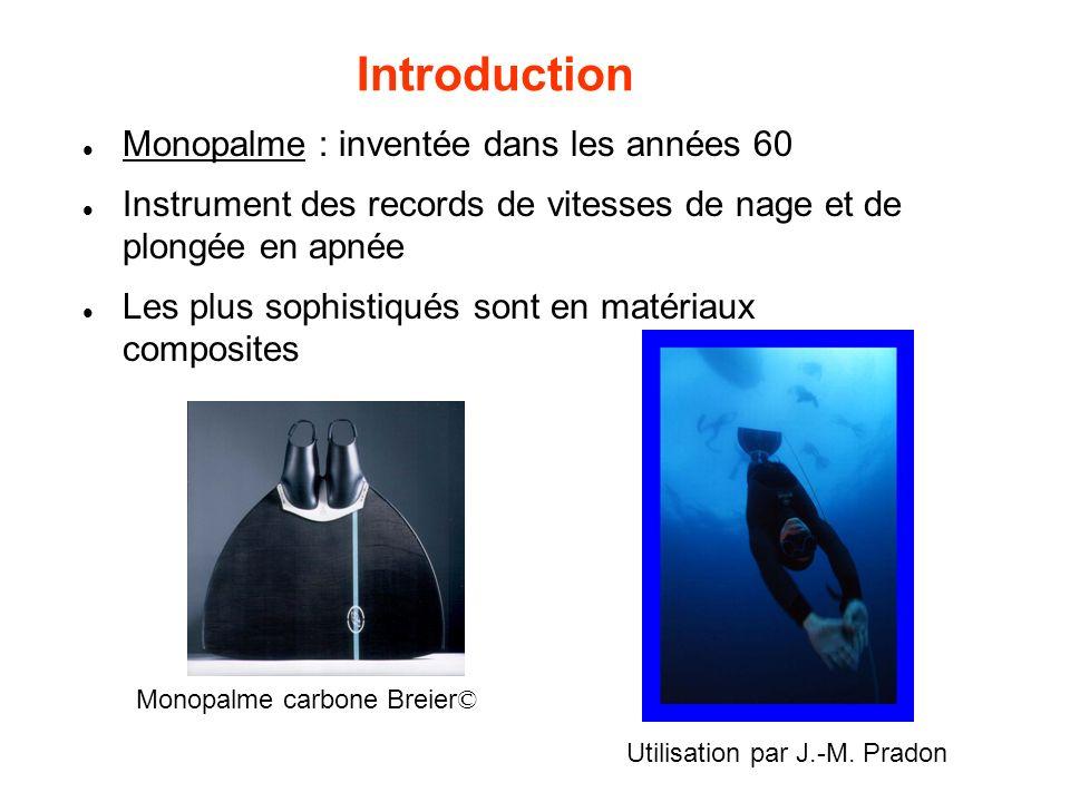 Introduction Monopalme : inventée dans les années 60 Instrument des records de vitesses de nage et de plongée en apnée Les plus sophistiqués sont en m