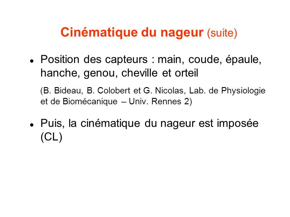 Cinématique du nageur (suite) Position des capteurs : main, coude, épaule, hanche, genou, cheville et orteil (B. Bideau, B. Colobert et G. Nicolas, La