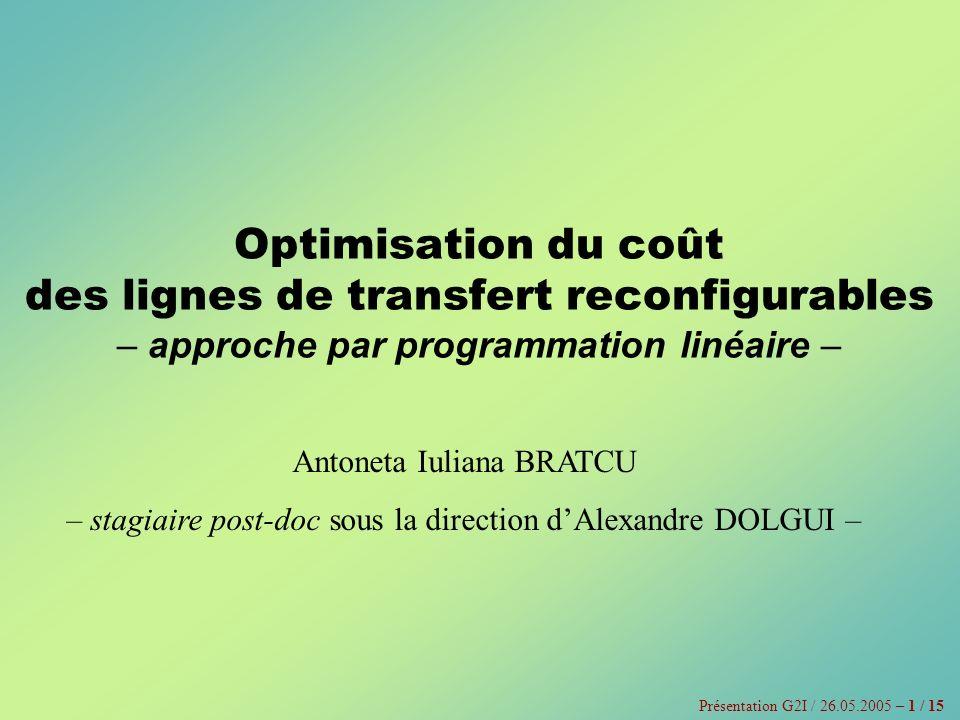Optimisation du coût des lignes de transfert reconfigurables – approche par programmation linéaire – Antoneta Iuliana BRATCU – stagiaire post-doc sous