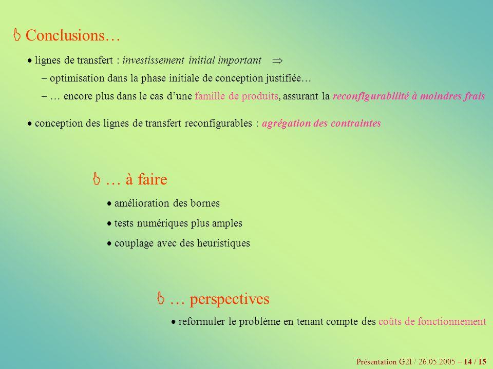 Présentation G2I / 26.05.2005 – 14 / 15 Conclusions… lignes de transfert : investissement initial important – optimisation dans la phase initiale de c