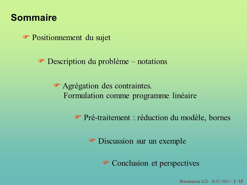 Sommaire Positionnement du sujet Description du problème – notations Agrégation des contraintes. Formulation comme programme linéaire Pré-traitement :