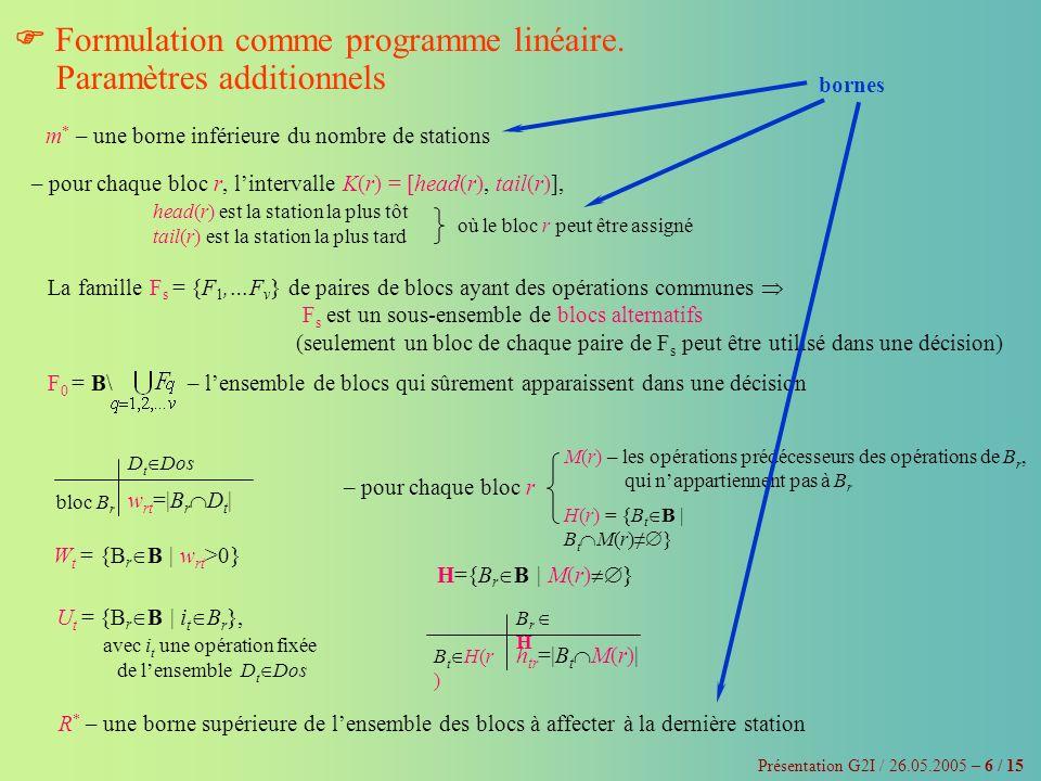 Présentation G2I / 26.05.2005 – 7 / 15 Formulation comme programme linéaire Minimiser Cs 0 ·y +·x rk sous les contraintes : y k x rk, r R *, k K(r), k m * exécution de chaque opération de lensemble agrégé, N, dans une seule station, aussi bien par des blocs qui nont pas dintersections (de F 0 ), que par les autres blocs (de F s ) exécution de toutes les opérations de N respect des contraintes de précédence agrégées (décrites par le graphe de précédence « total », G) respect des contraintes dinclusion agrégées, Dos respect des contraintes dexclusion agrégées, Dbs contrainte du nombre maximal de blocs par station contrainte sur le nombre de stations respect des temps de cycle de tous les produits