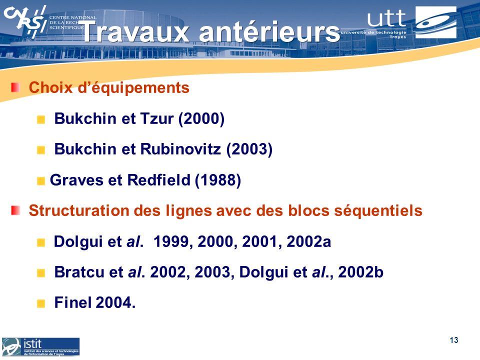 13 Travaux antérieurs Choix déquipements Bukchin et Tzur (2000) Bukchin et Rubinovitz (2003) Graves et Redfield (1988) Structuration des lignes avec d