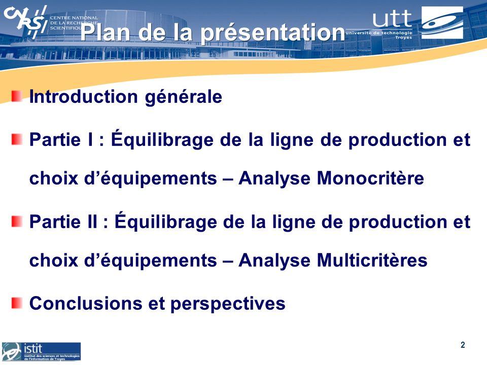 2 Plan de la présentation Introduction générale Partie I : Équilibrage de la ligne de production et choix déquipements – Analyse Monocritère Partie II