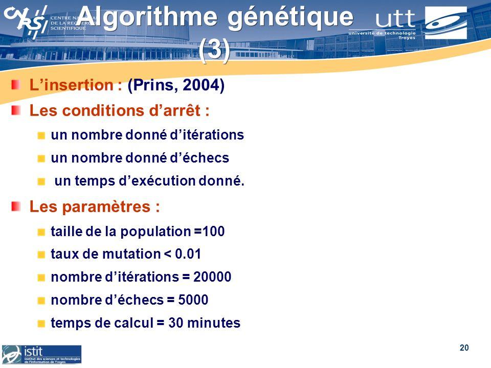 20 Algorithme génétique (3) Linsertion : (Prins, 2004) Les conditions darrêt : un nombre donné ditérations un nombre donné déchecs un temps dexécution