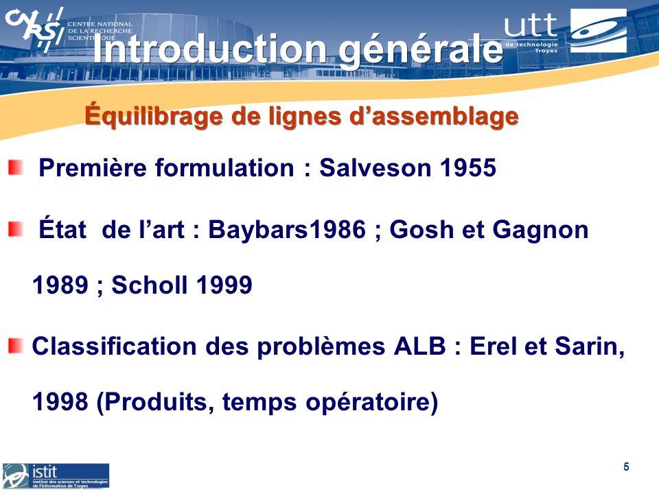 5 Équilibrage de lignes dassemblage Première formulation : Salveson 1955 État de lart : Baybars1986 ; Gosh et Gagnon 1989 ; Scholl 1999 Classification