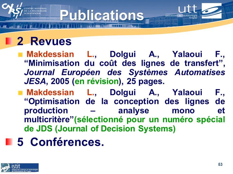 53 Publications 2 Revues Makdessian L., Dolgui A., Yalaoui F., Minimisation du coût des lignes de transfert, Journal Européen des Systèmes Automatises