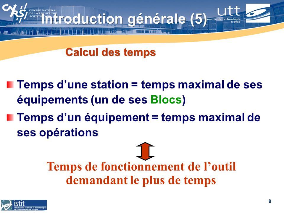8 Calcul des temps Temps dune station = temps maximal de ses équipements (un de ses Blocs) Temps dun équipement = temps maximal de ses opérations Temp
