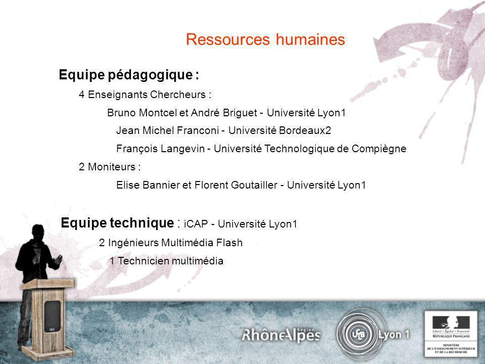 Equipe pédagogique : 4 Enseignants Chercheurs : Bruno Montcel et André Briguet - Université Lyon1 Jean Michel Franconi - Université Bordeaux2 François