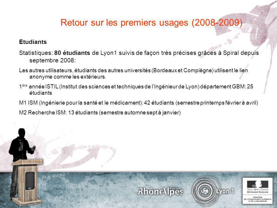 Etudiants Statistiques: 80 étudiants de Lyon1 suivis de façon très précises grâces à Spiral depuis septembre 2008: Les autres utilisateurs, étudiants