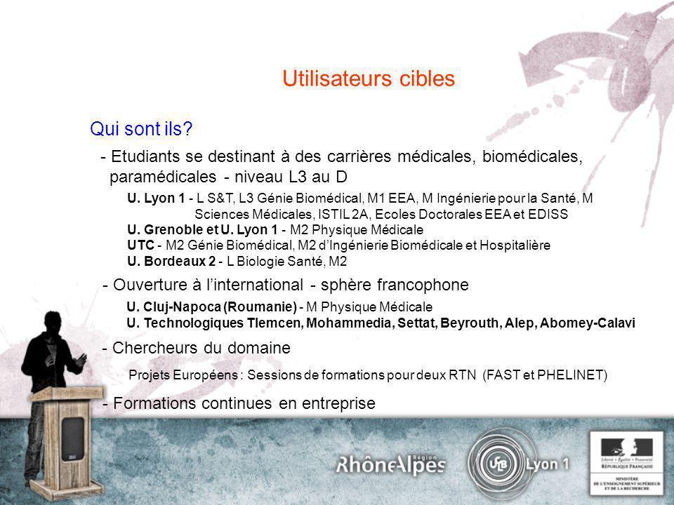 Utilisateurs cibles Qui sont ils? - Etudiants se destinant à des carrières médicales, biomédicales, paramédicales - niveau L3 au D U. Lyon 1 - L S&T,