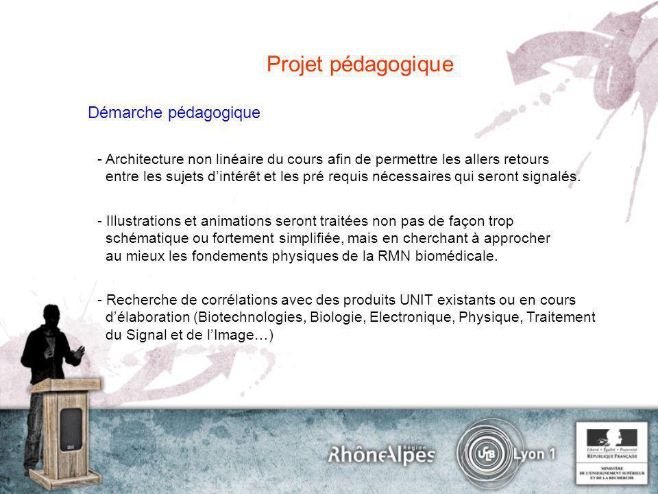 Projet pédagogique Choix de présentation Pages html : textes, schémas/infographie, animations Flash.