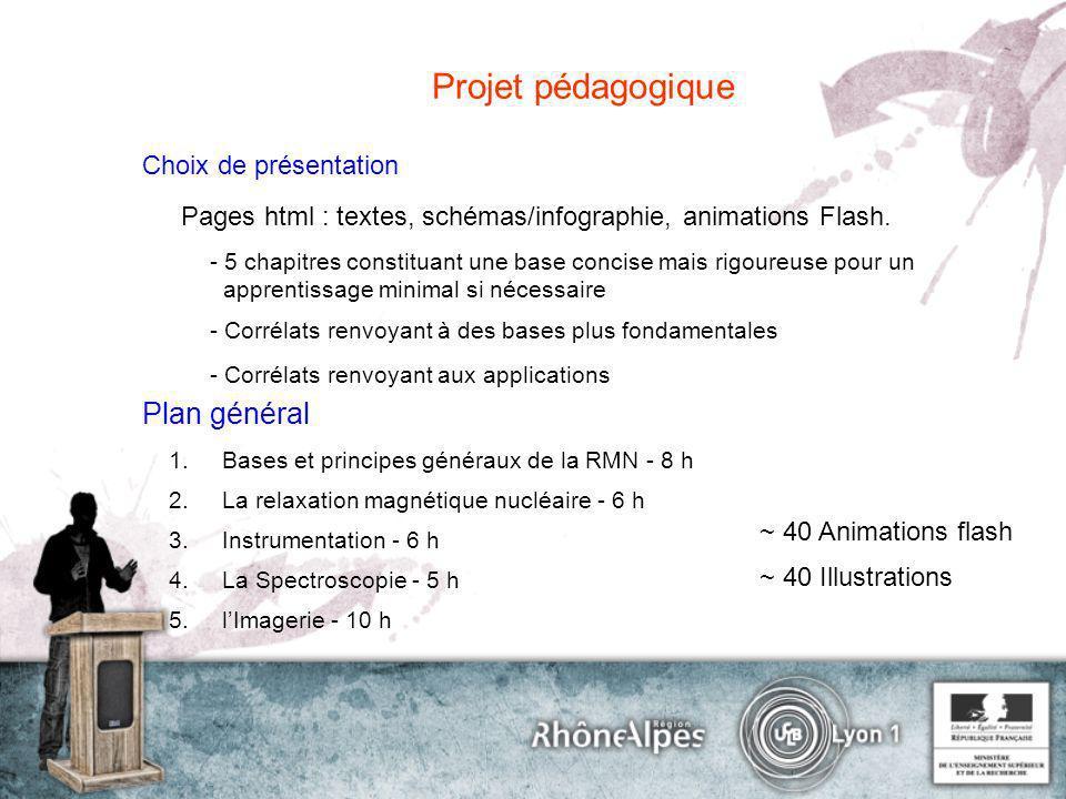 Projet pédagogique Choix de présentation Pages html : textes, schémas/infographie, animations Flash. - 5 chapitres constituant une base concise mais r