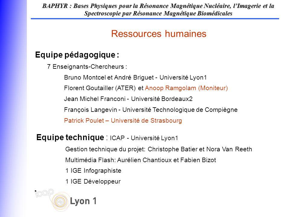 Equipe pédagogique : 7 Enseignants-Chercheurs : Bruno Montcel et André Briguet - Université Lyon1 Florent Goutailler (ATER) et Anoop Ramgolam (Moniteu