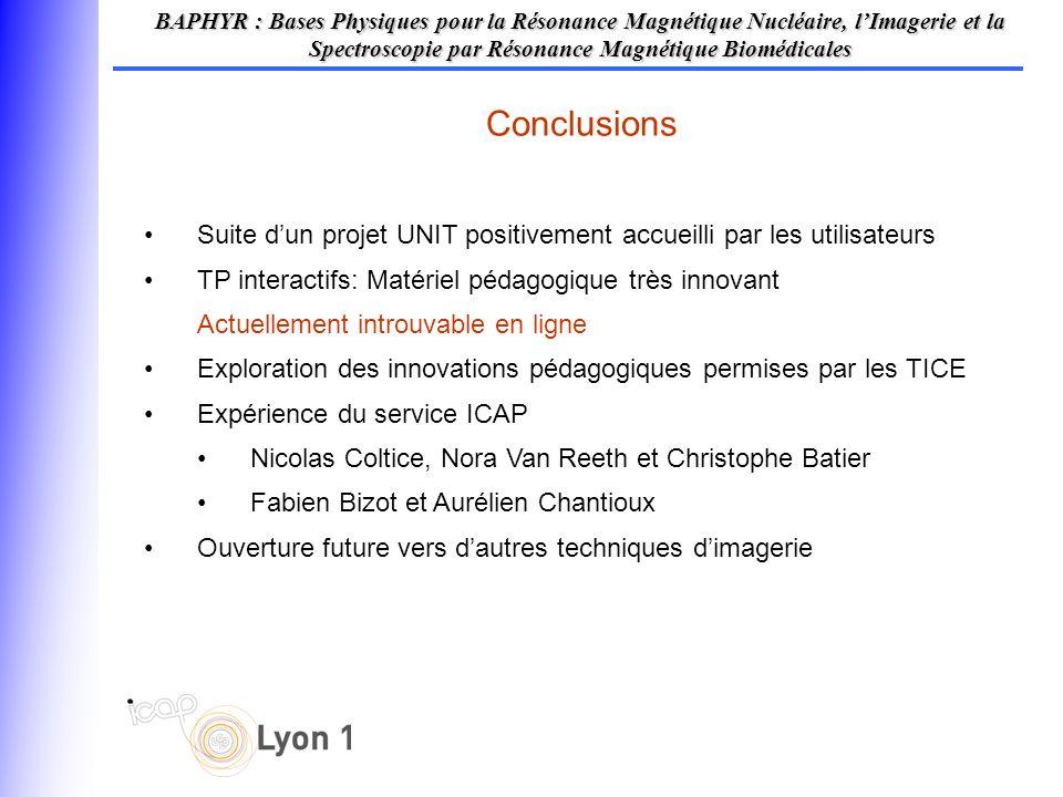 Conclusions BAPHYR : Bases Physiques pour la Résonance Magnétique Nucléaire, lImagerie et la Spectroscopie par Résonance Magnétique Biomédicales Suite