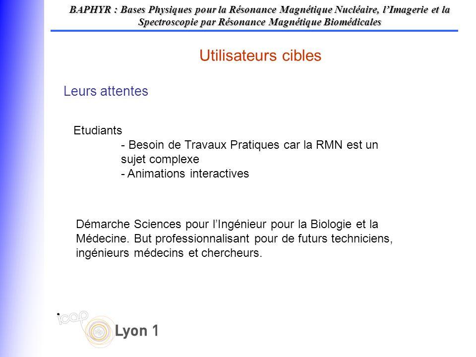 Leurs attentes Utilisateurs cibles BAPHYR : Bases Physiques pour la Résonance Magnétique Nucléaire, lImagerie et la Spectroscopie par Résonance Magnét