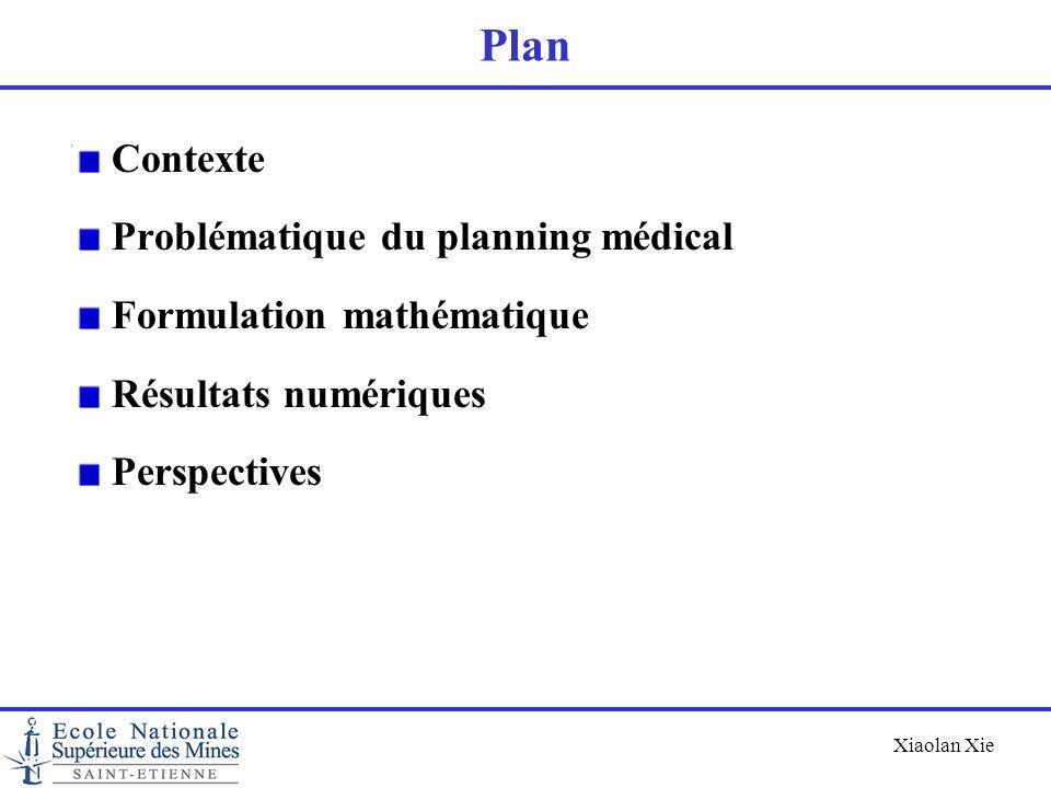 Xiaolan Xie Plan Contexte Problématique du planning médical Formulation mathématique Résultats numériques Perspectives