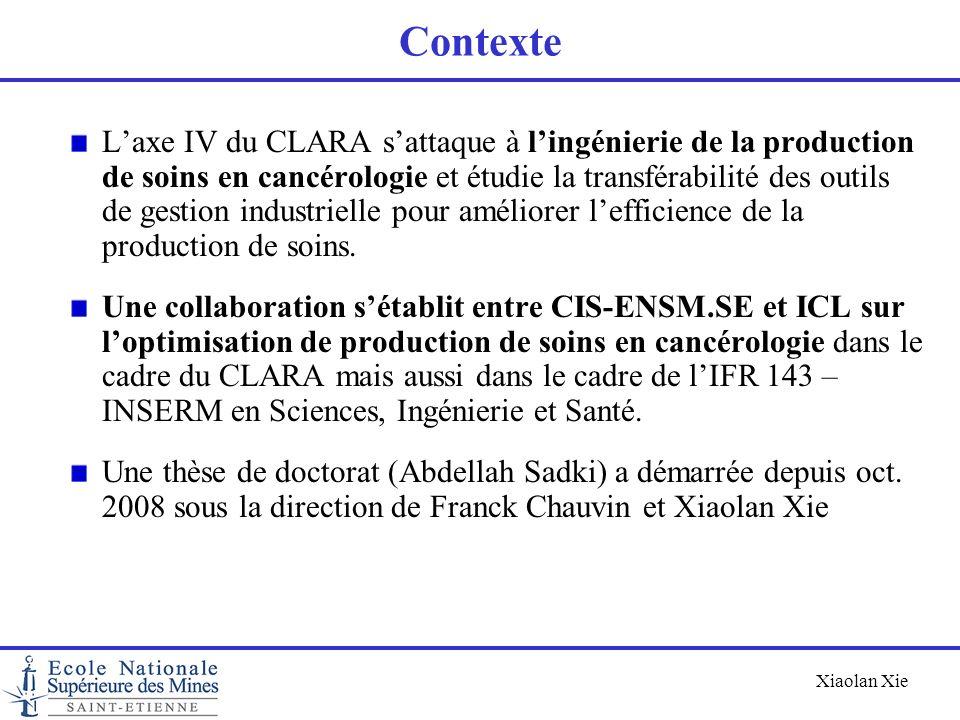 Xiaolan Xie Contexte Laxe IV du CLARA sattaque à lingénierie de la production de soins en cancérologie et étudie la transférabilité des outils de gest